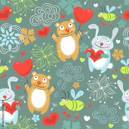 Cotton fabric Children seamless background with a hare, bear, beetle, heart