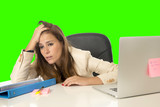 business woman suffering stress at office computer isolated green chroma key