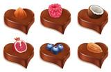 chococolate candy heart with, hazelnut, coconut, raspberry, blueberry, almond