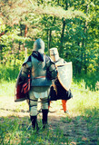 knights in armor is fighting at forest