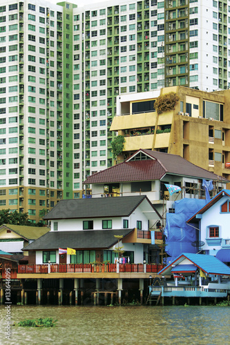 Poster house on the banks of the Chao Phraya river in Bangkok