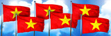 Vietnam flags, 3D rendering, on a cloud background