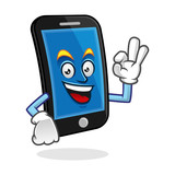 OK smartphone character, vector of cellphone mascot, mobile phone cartoon