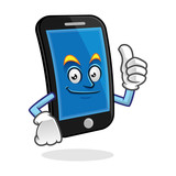 thumb up smartphone character, vector of cellphone mascot, mobile phone cartoon