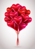 Flying bunch of red balloon hearts. Valentines Day