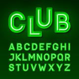 Broadway night club vintage style neon font, green