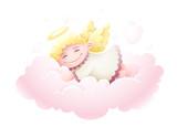 Angel Cupid dziecko śpi w chmurze