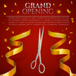 Ribbon cutting ceremony banner. Vector illustration.