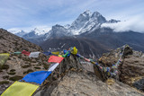 Prayer flag on top of Dingboche view point, Everest region, Nepa