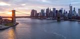 Brooklyn Bridge Manhattan Skyline at Sunset New York City