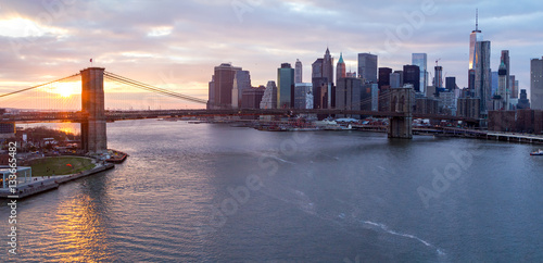 Brooklyn Bridge Manhattan Skyline at Sunset New York City