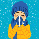 Young man having flu blowing nose with paper tissue on winter