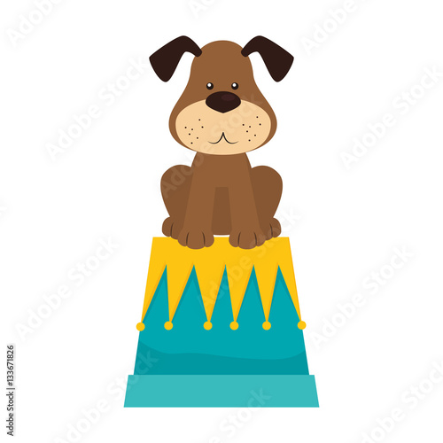 Poster cute dog isolated icon vector illustration design