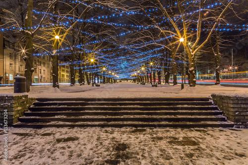 Poster Tallinn City Christmas Lights At Night