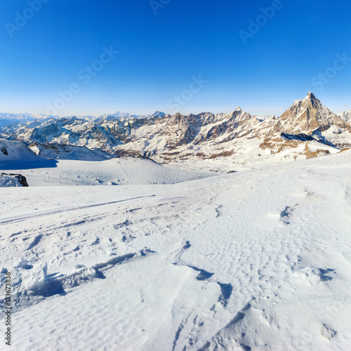 Poster Panorama of Breuil Cervinia mountains in Alps. Matterhorn peak