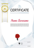 White official certificate with white triangle design elements. White emblem and white ribbon
