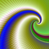 Big Wave Spiral in Green and Blue / A digital abstract fractal design with a wave spiral design in blue, green and red. - 133677257