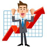 ン業績上昇を喜ぶ若手ビジネスマン
