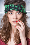 pretty hippie girl in bandana