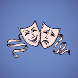 Comedy and tragedy theatrical masks. Vector illustration