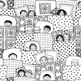 Hand drawn seamless pattern with cute sleeping kids in black and white