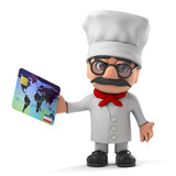 3d Cartoon Italian pizza chef character pays with a debit card