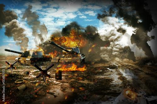 Poster Battle Tank in the war zone