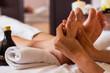 Leinwanddruck Bild - Massage of human foot in spa salon - Soft focus