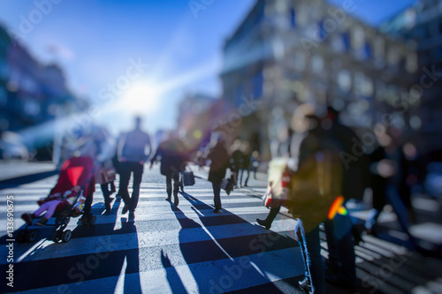 people in busy city streets