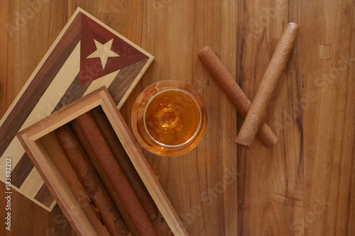 Poster Cuban cigars with vintage cigar box and rum