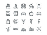 Fototapety Transport. Set of outline vector icons