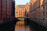 Speicherstadt, historical center of Hamburg at sunrise
