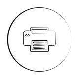 Black ink style Printer icon with circle
