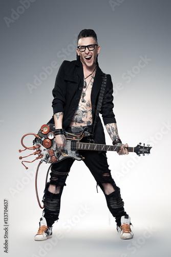 Poster handsome rock musician