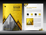 Business brochure flyer template in A4 size, Gold Cover design, Annual report, magazine ads, catalog