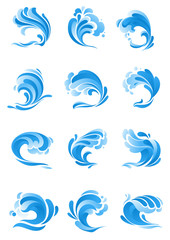 Waves, water splashes vector isolated icons
