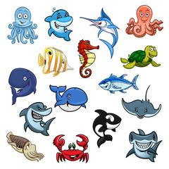 Sea and ocean animals, fish cartoon icons
