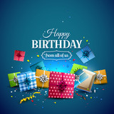 Birthday blue template