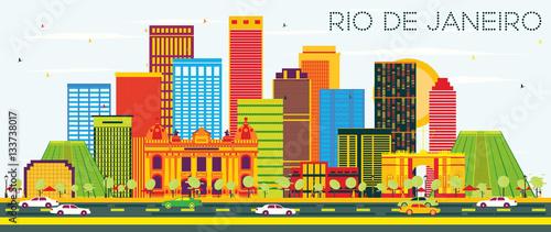 Rio De Janeiro Skyline with Color Buildings and Blue Sky.