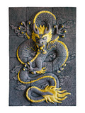 Chinese dragon style sculpture isolate on white background