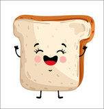 Cute toast bread cartoon character isolated on white background vector illustration. Funny positive and friendly bakery pastry emoticon face icon. Happy smile cartoon face food, comical toast bread