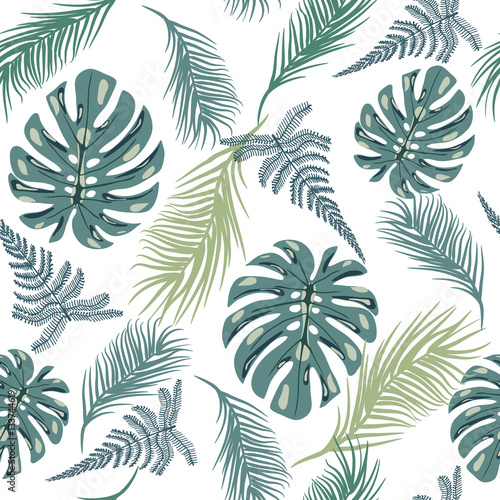 Tapeta ścienna na wymiar Tropical trendy seamless pattern with exotic plant leaves