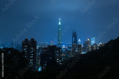 Taipei, Taiwan evening skyline. Poster