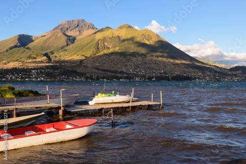 Poster, Tablou Boats at San Pablo lake, Imbabura, Ecuador