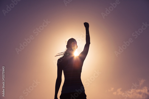 Strong confident woman! Winning and life goals concept.