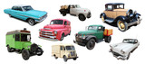 Old cars and delivery trucks (american and other)
