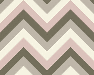 Striped, zigzagging seamless pattern. Zig-zag line texture. Stripy geometric background. Khaki, olive, pale rosy colored. Vector
