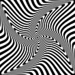 Abstract op art design. Rotation torsion movement.