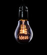Hanging lightbulb with glowing Ideas concept.