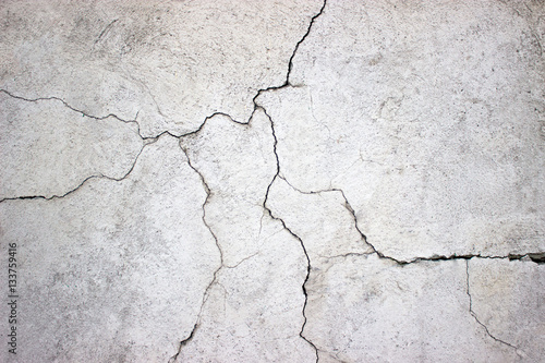 In de dag Betonbehang cracked concrete wall covered with gray cement texture as backgr